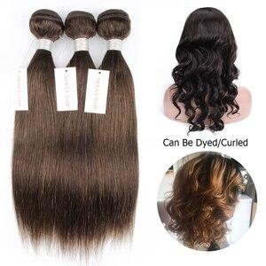 Image 4 - Mogul שיער הודי שיער Weave חבילות ישר חבילות צבע 4 שוקולד חום שחור רמי שיער טבעי הארכת 10 26 אינץ
