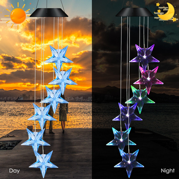 Solar Powered Wind Chime Waterproof Color Changing Star LED Wind Chime For Home Balcony Garden Party Decor Wind Chime Light фото