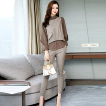 2020 Spring New Women's 3 Piece Sets Long Sleeve Shirt Vest Tops Elastic Waist Pant Suit Elegance Office Lady Hot Sale DA695(China)