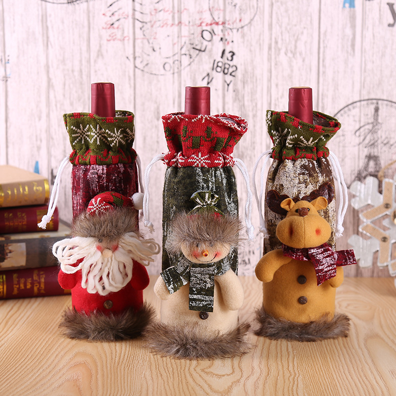 Christmas Cute Wine Bottle Covers New Year Gift Bag Snowman Santa Claus Elk Doll Apron Wrap Home Party Dinner Tables Decorations