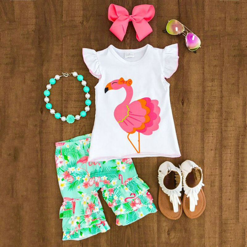 Toddler Kids Baby Girls Fly Sleeve Flamingo Clothes Outfits Short Sleeve Tops +Ruffles Floral Printed Shorts Set