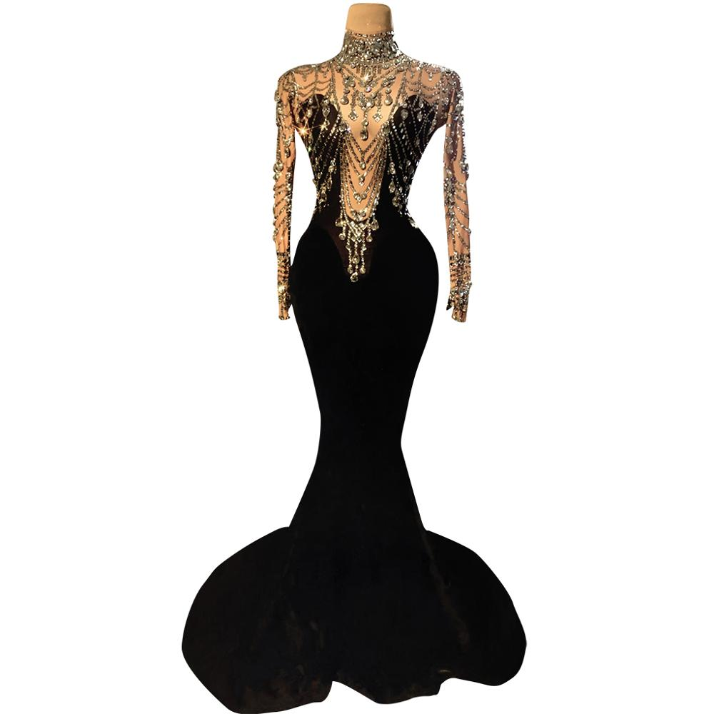 Elegant Wedding Party Rhinestone Velvet Mermaid Dress Women Sexy Evening Long Dress Prom Crystal Trailing Dress Stage Costumes