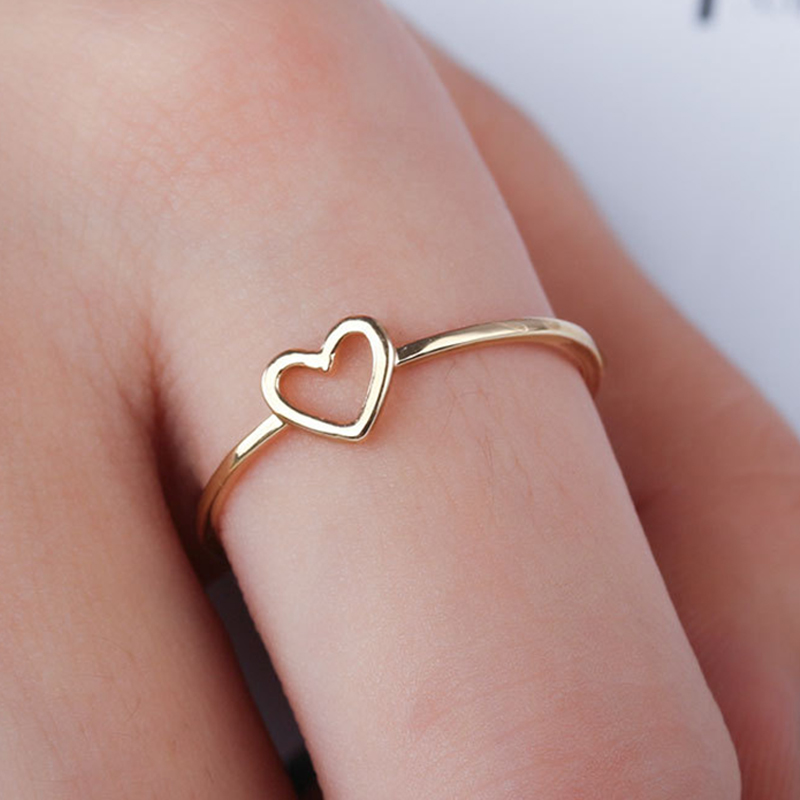 1 PC Simple Hollow Heart Shape Fashion Bride Wedding Rings New Gifts Valentines