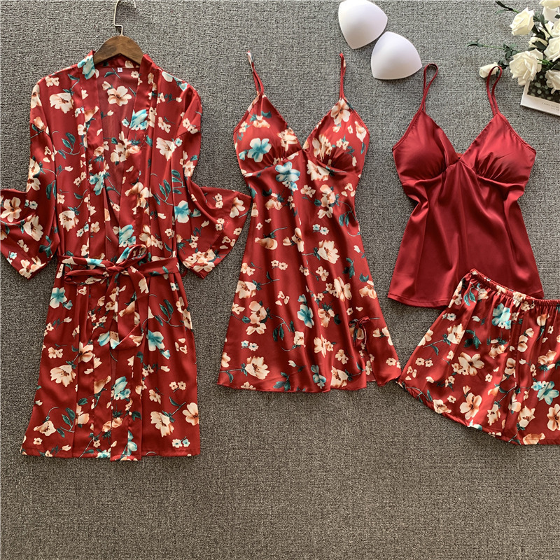 4 Pcs Set Women Silk Sexy Camisole Nightdress Robe Suit Long Sleeve Printing Pajamas Woman Satin Pyjamas
