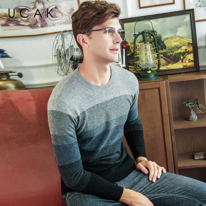 UCAK Brand 100% Merino Wool Sweater Men Streetwear Fashion Striped Pull Homme Winter Thick Pullover Men Cashmere Sweaters U3081