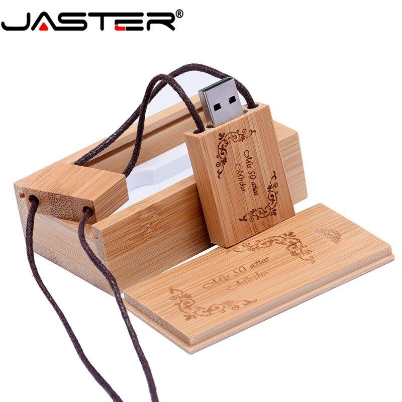 JASTER  (over 10 Pcs Free Logo) Hot Selling Square Rope Wooden USB + BOX USB 2.0 Pendrive 4GB 8GB 16GB 32GB 64GB USB Flash Drive