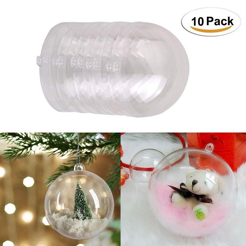 10 Pack Wedding Decorative Hollow Balls Transparent Candy Box Hanging Pendant Window Drop Ornament DIY Party Christmas Balls