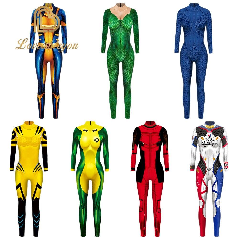 The Avengers Annual Hero X-MEN Rogue Jumpsuit Cosplay Halloween Costume Bodysuit