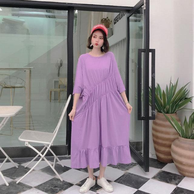 XITAO Pleated Plus Size Dress Fashion Pullover Goddess Fan 2020 Summer Goddess Fan Minority Casual Style Loose Dress GCC3517 4