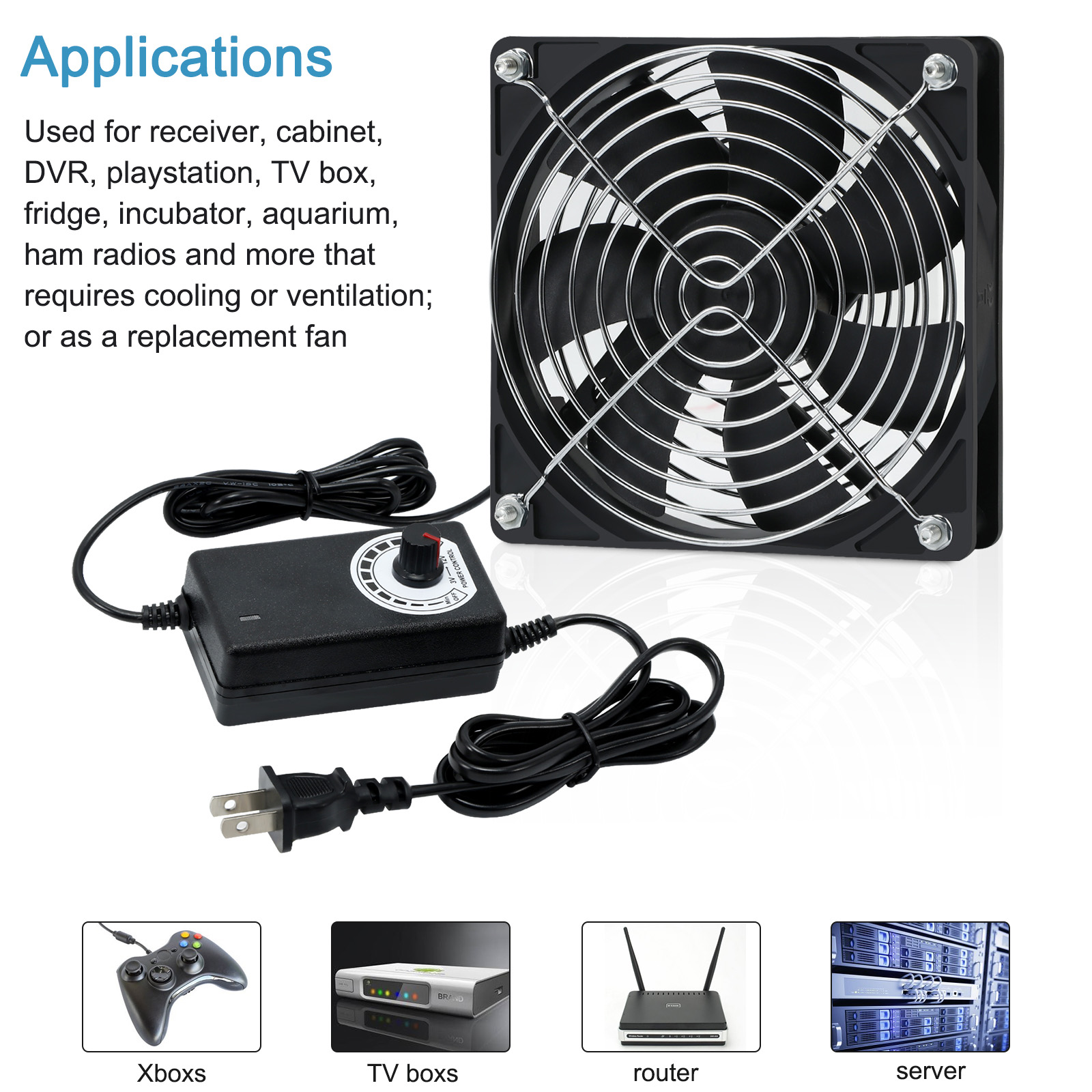 120mm Computer Fan with Ac Plug 110V 220V  to 3V - 12V 2A Exhaust Cooling Fan Router TV Box with Speed Controller ,for Grow Tent 2
