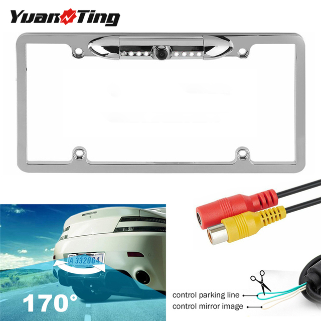 YuanTing License Plate Frame Backup Rear View Reversing Camera Parking Assist Night Vision Waterproof 170 Viewing Angle 7 LEDs