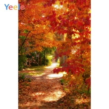 Yeele Autumn Landscape Photocall Red Maple Forest Photography Backdrops Personalized Photographic Backgrounds For Photo Studio