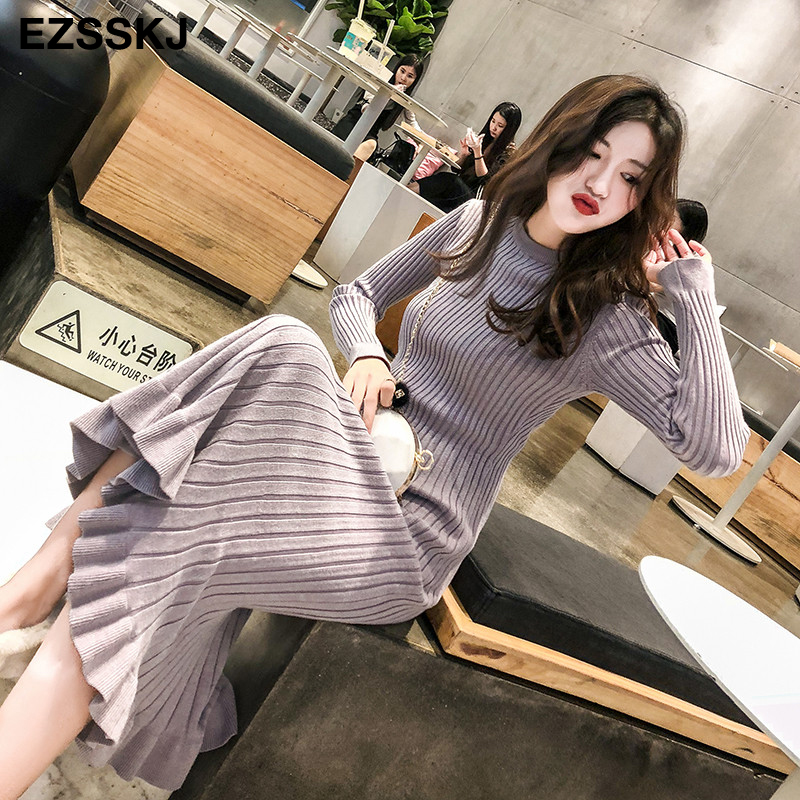 Image 5 - 2019 autumn winter thick mermaid maxi sweater dress women o neck long sweater dress elegant female a line slim sexy knit dress-in Dresses from Women's Clothing