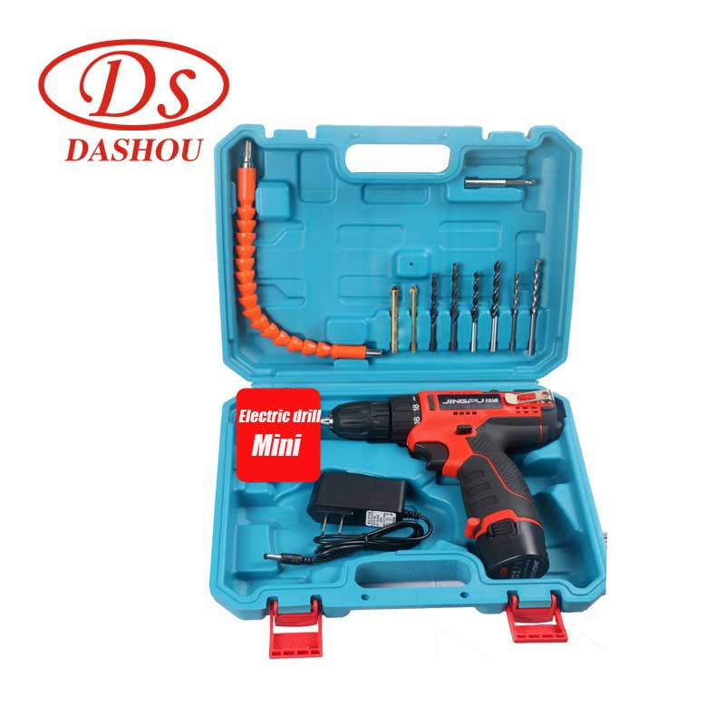 DS Small Hand Electric Drill Home Multifunctionl Portable Lithium Battery Charging Electric Mini Drill Combination Set JP 12|  - title=
