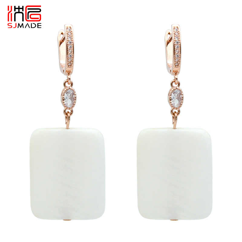 SJMADE Square 585 Rose Gold Dangle Earrings Natural White Shell For Women Girl Wedding Party Jewelry Retro Temperament Eardrop