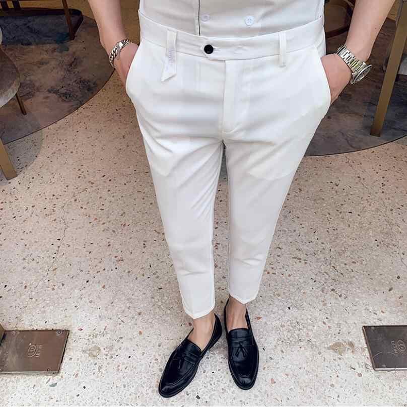 2019 estilo británico traje pantalón hombre traje pantalón hombres marca diseñador caballeros negocios Casual trabajo pantalón hombres Pantalones blanco negro