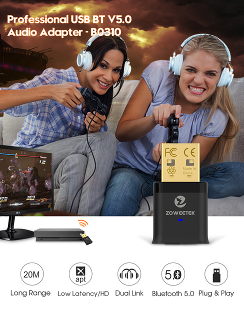 Zoweetek usb bluetooth адаптер 50 ключ с aptx низкой задержкой