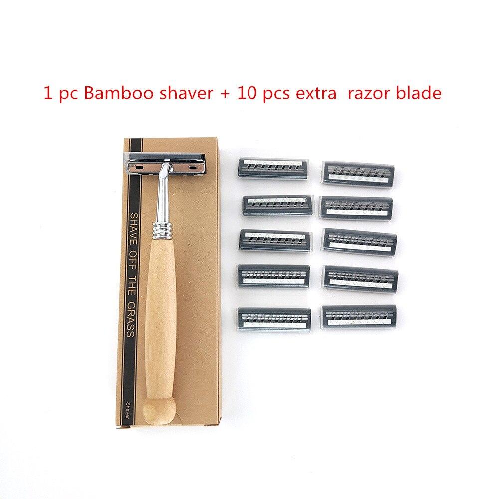 Hot 10pcs High quality Natural bamboo handle safety razor Unisex sustainable razor fits all razor blades Wooden handle