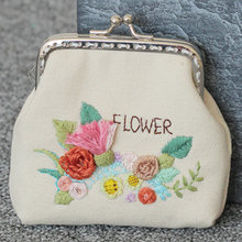 Women Vintage Handmade Gift Coin Wallet Chinese Style Small Sewing Needlework Flower Tree DIY Embroidery Purse Set(China)