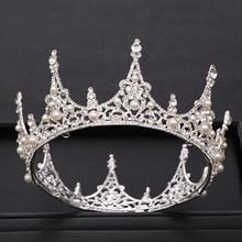 Trendy Silver Pearl Round Queen Bridal Crown Wedding Crystal Rhineston tiara Headpiece Hair Accessories Party Hair Jewelry недорого