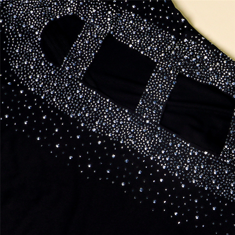 Diamonds Hollow Out Sheer Mesh Club Party Dress