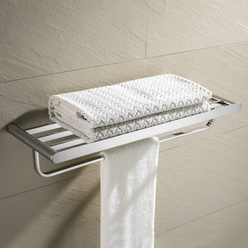 Stainless Steel Polished Bathroom Wall Mounted Towel Rail Holder Shelf Storage Rack Double Towel Rails Bar