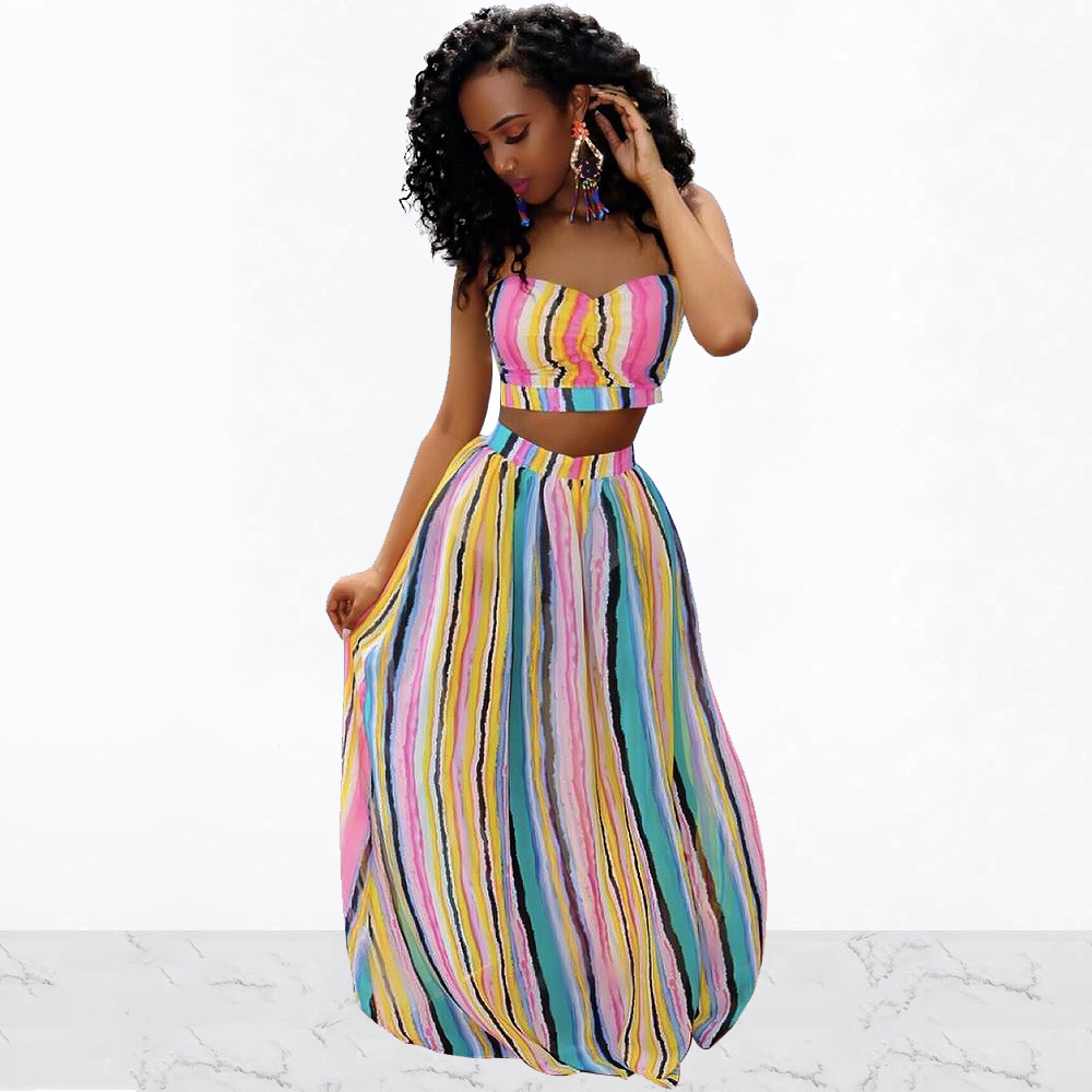 Women Summer Sexy Strapless Off Shoulder Backless Top+Bohemian Colorful Stripes High Elastic Big Swing Maxi Skirt 2 Pieces Set