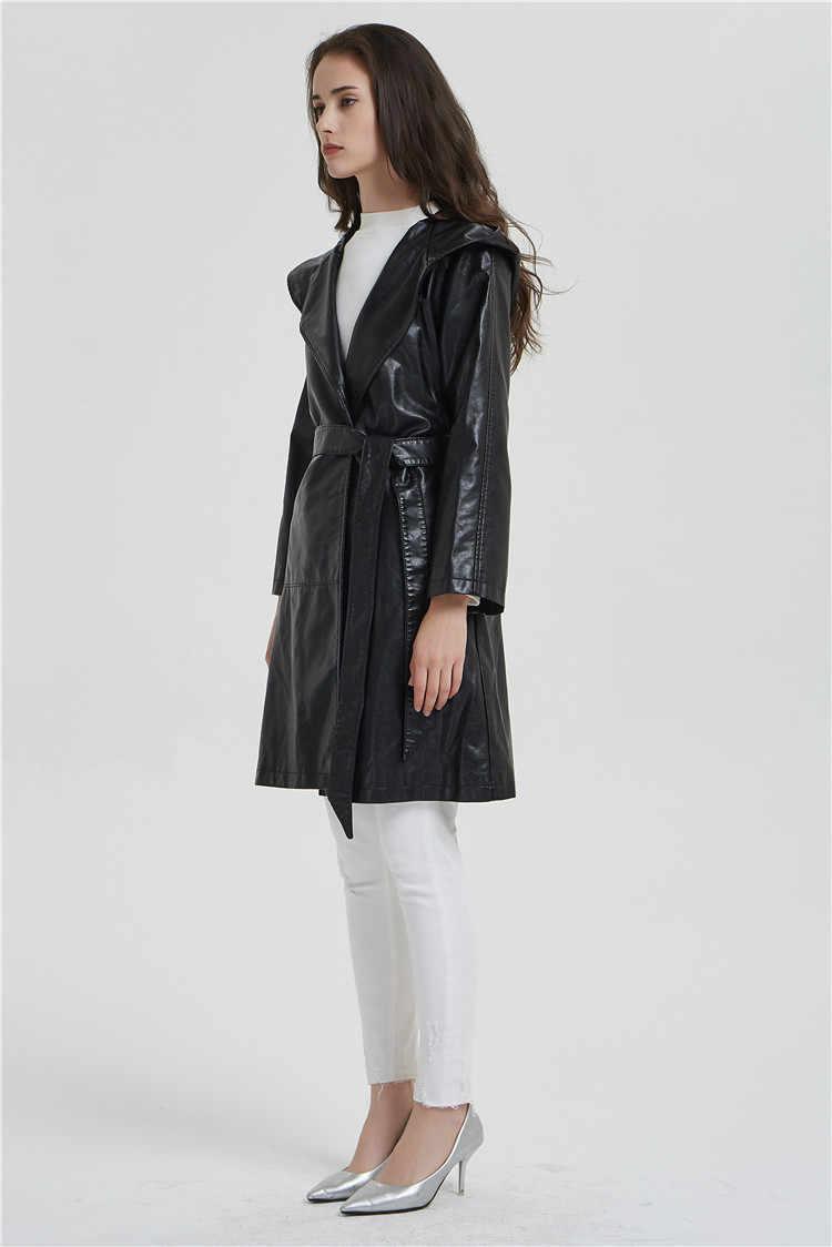 가을과 겨울에 JS931J-New 여성 가죽 자켓 2018 중간 긴 슬림 후드 마이크로 트럼펫 슬리브 패션 가죽 트렌치 코트