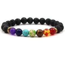 Браслет Чакра мужские черные лавы бусины с энергией исцеления и гармонии рейки молитва Будды натуральный камень Йога браслет для женщин подарок