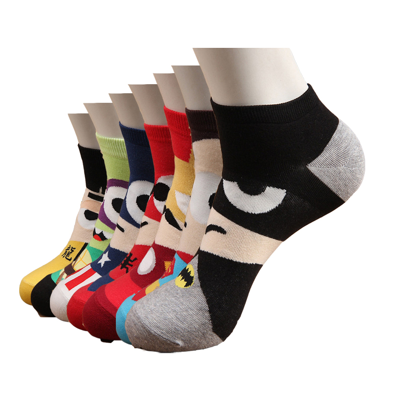 Hot Sale! Socks Men Funny Superman Spiderman Captain America Spring Summer Short Sock Men's Cute Cartoon Cotton Socks