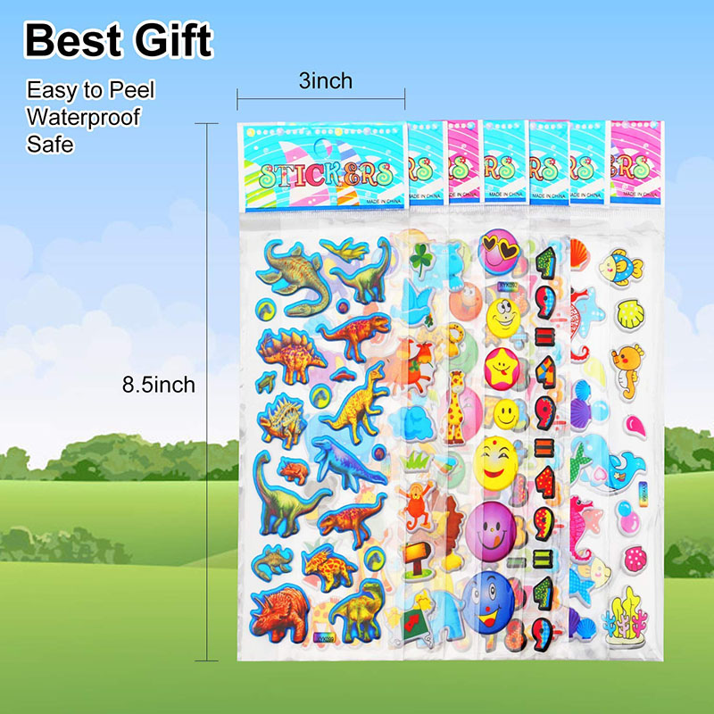 30 Sheets Stickers for Kids Girls Boys Different Bulk Stickers 3D Puffy Assorted Scrapbook 20 Stickers Cartoon Princess DIY Toys 3