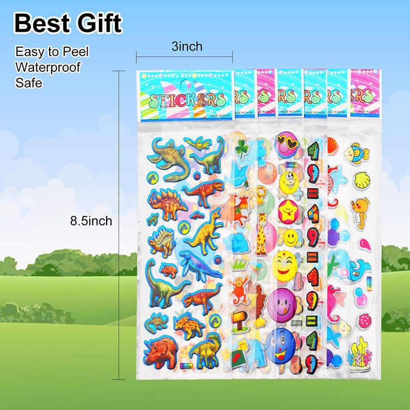 20 hojas de pegatinas para niños y niñas, diferentes pegatinas a granel, pegatinas 3D hinchadas surtidas para álbum de recortes, pegatinas de dibujos animados de princesa, Juguetes DIY