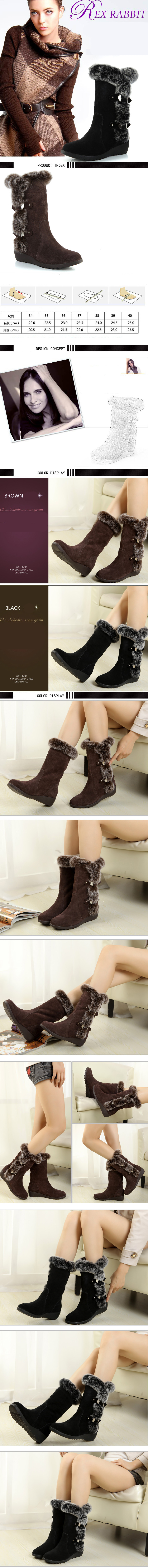 Women Winter Boots Flock Winter Shoes Ladies Fashion Snow Boots Shoes Thigh High Suede Mid-Calf Boots 18