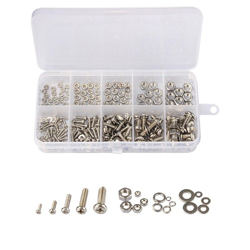 160Pcs  Stainless Steel SS304M2 M2.5 M3 M4 M5 Screws An Head Screws Nuts Bolts Assortment Kit