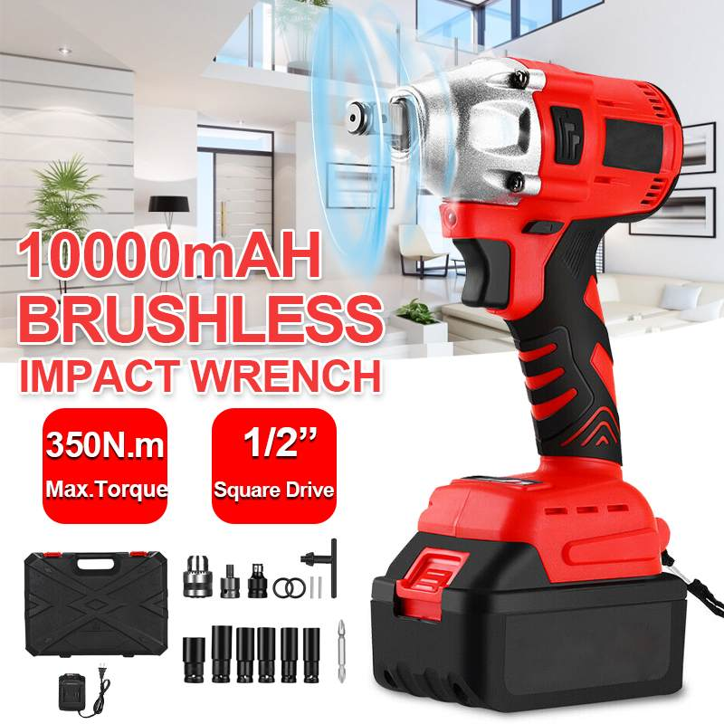 88VF 10000mAh 350Nm Brushless Cordless Electric Wrench Impact Driver Power Tool Rechargeable Lithium Battery Household Drill