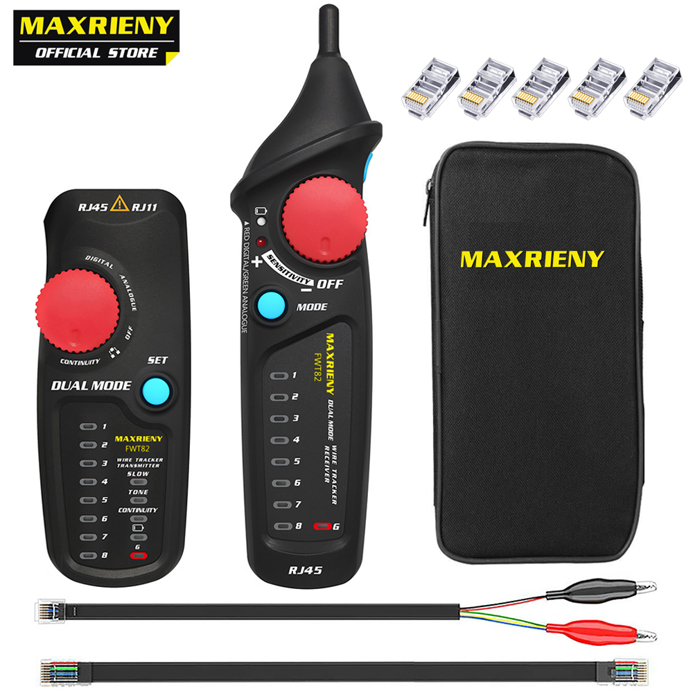 MAXRIENY FWT82 Network Cable Tracker Dual Mode Wire Toner RJ45 RJ11 Ethernet LAN Tracer Analyzer Detector Line Finder Tester