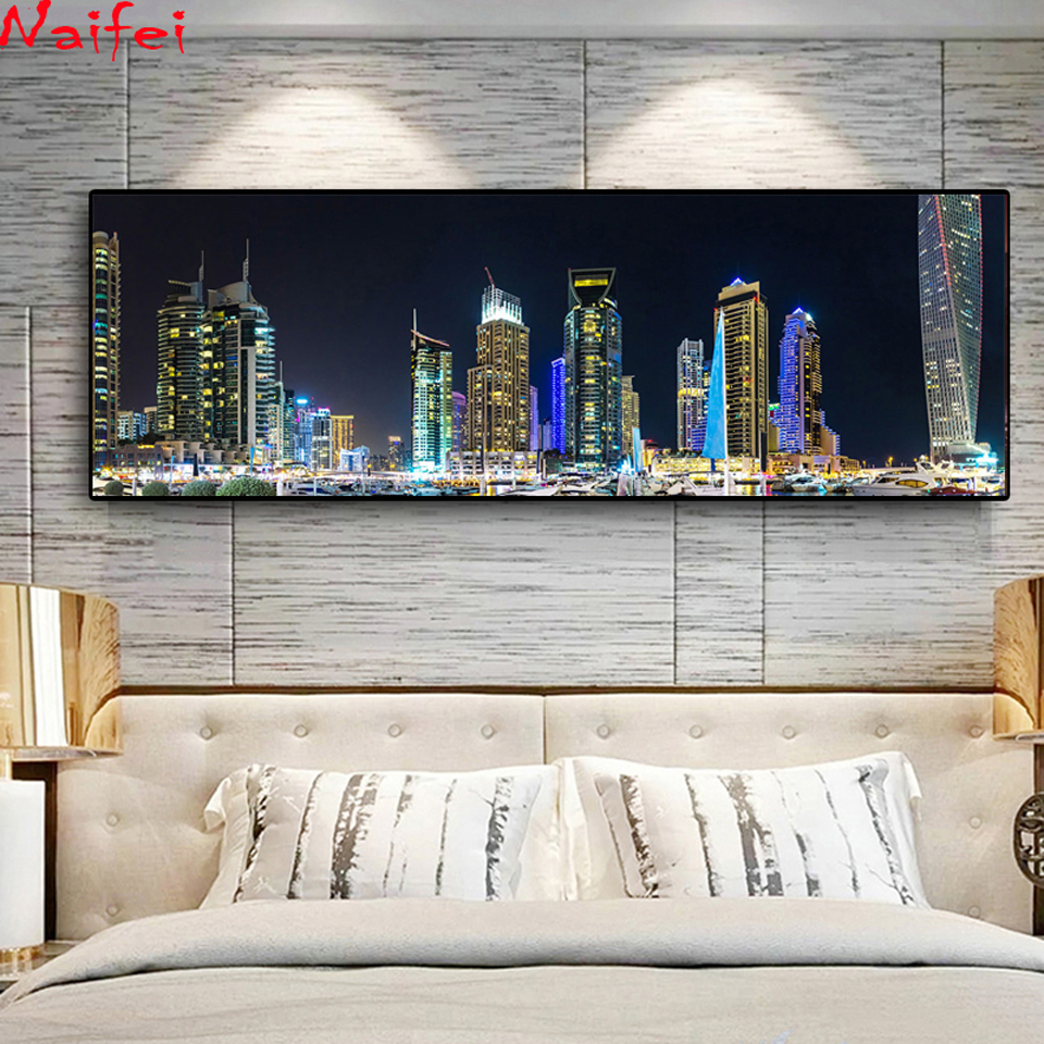 5D DIY Diamond Embroidery Emirates UAE Dubai Houses Marinas Night Landscape Diamond Painting Cross Stitch Full Drill Gift