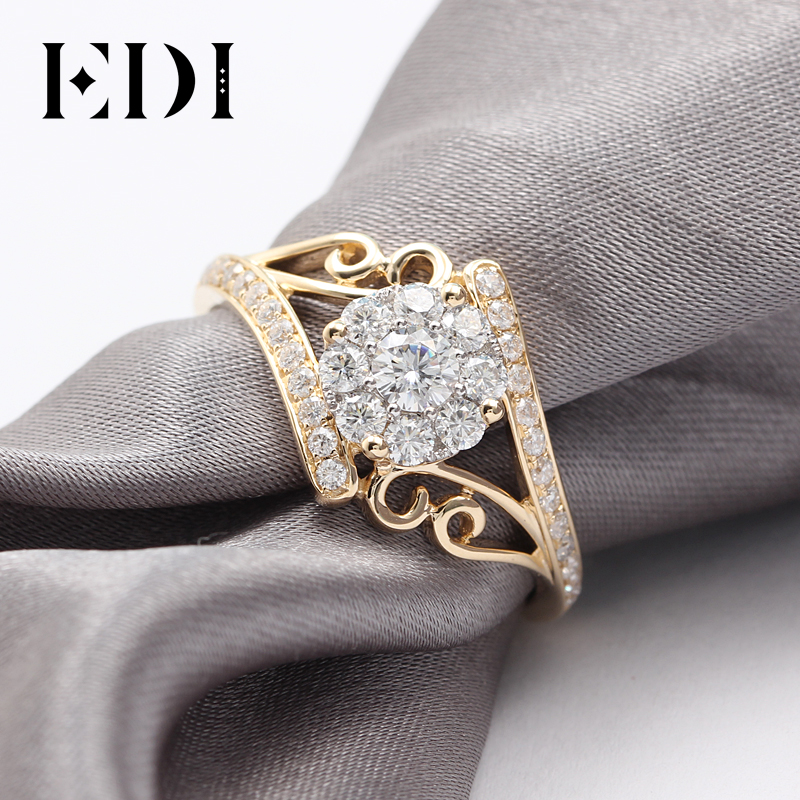 EDI Unico Moissanites Anello di Diamanti 1ctw Taglio Rotondo 9K Oro Giallo Anelli di Cerimonia Nuziale Per Le Donne Gioielli Con Diamanti-in Anelli da Gioielli e accessori su  Gruppo 3