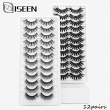ISEEN 12 Pairs Lashes 3D Mink Eyelashes Natural Long /Thick False Eyelashes Handmade lashes Makeup Extension fake Eyelashes