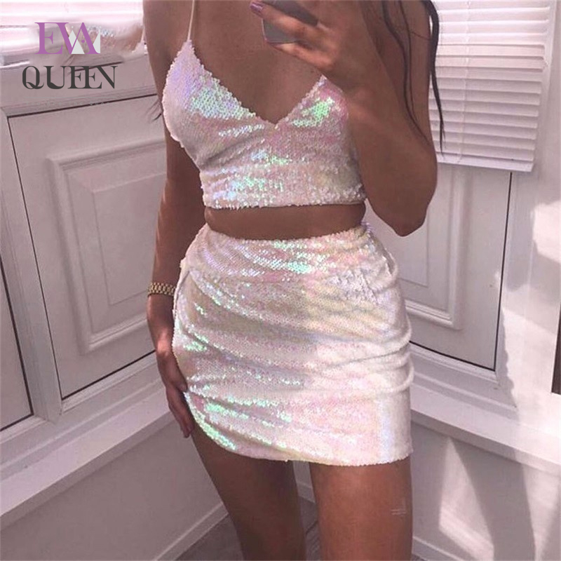 EvaQueen Sequin Party 2 Piece Set Women Bandage Outfits Spaghetti Strap Crop Top And Split Mini Skirt Sexy Two Piece Set 2018
