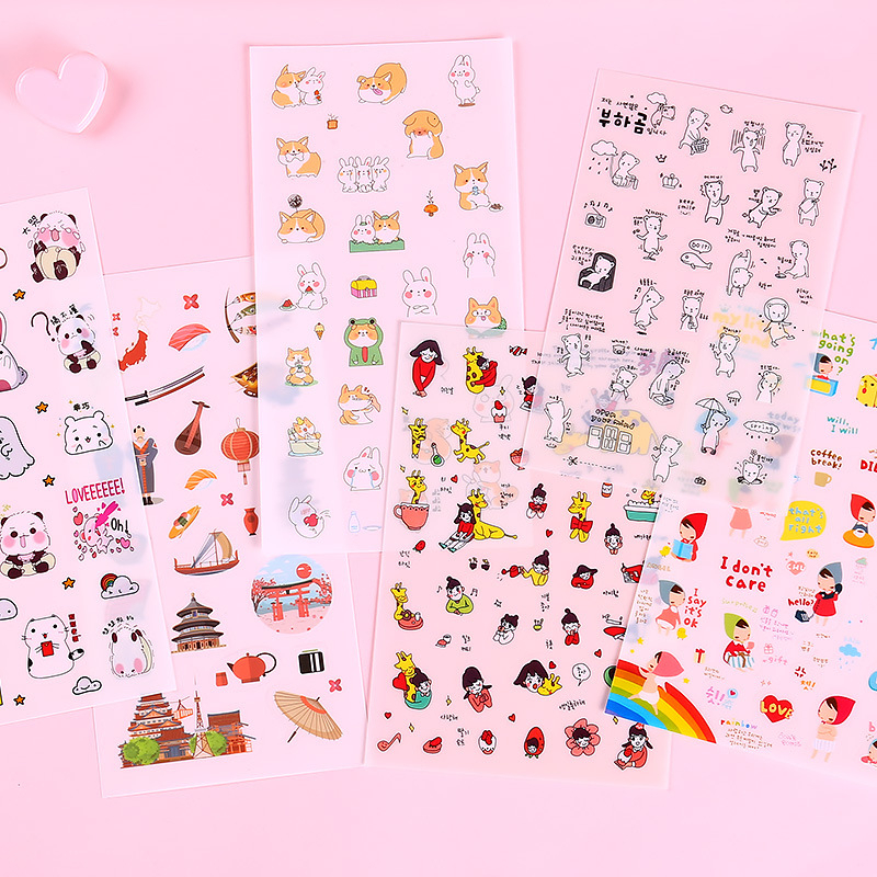 Creative Kawaii Sticker Bag Cute Hand Account Decoration DIY Transparent Photo Stickers Kids School Stationery Supplies 06558 image