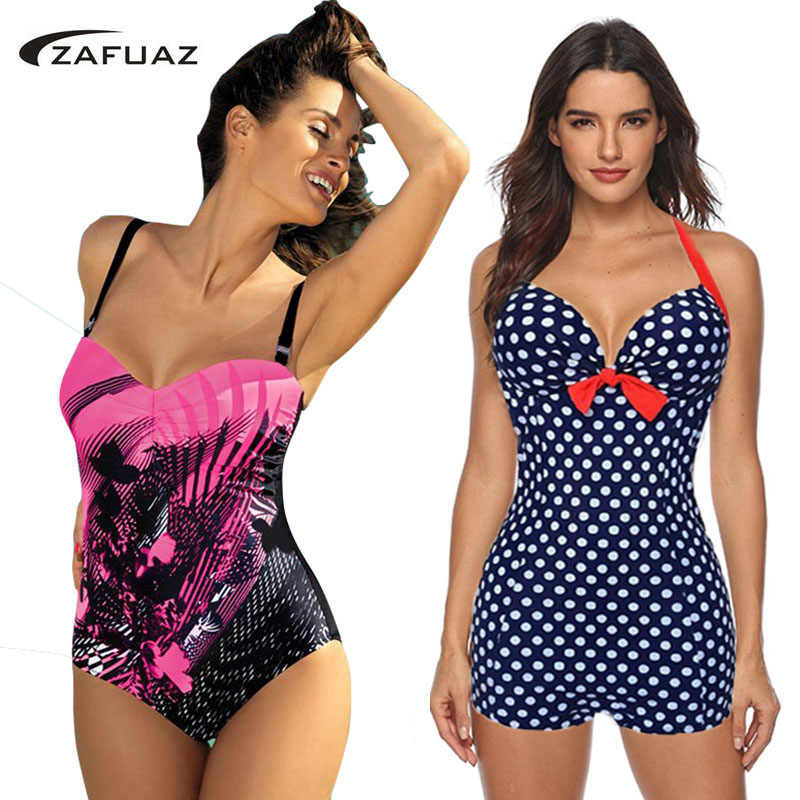 2019 Push Up One Piece Swimsuit Brazilian Bikini Sexy Vintage Retro Dots Plus Size Swimwear Women Monokini Bathing Suit Shorts