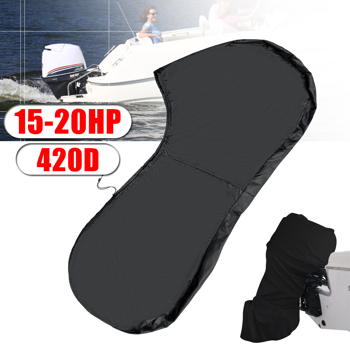420D 125cm Boat Full Outboard Engine Protector Motor Cover For 15-20HP Boat Motors Waterproof