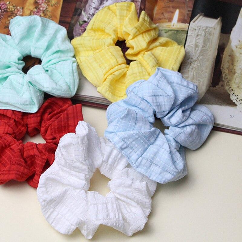2020 Bestilk Cute Vsco Cotton Scrunchies Ponytail Holder For Girl Hair Tie Hair Rope Scranchy Headwear Schrunchie