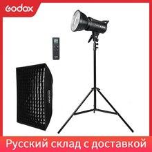 Godox luz de vídeo led SL 60W 5600k, versão branca, luz de vídeo contínua kit + 60x90cm bowens softbox + suporte leve de 190cm