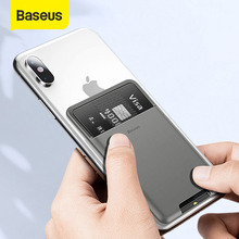 Baseus Universal Phone Back Wallet Card Slots Case For iPhone 11Pro X XS Max XR Case Luxury 3M Sticker Silicone Phone Pouch Case