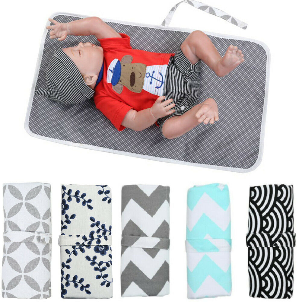 Newborn Baby Portable Foldable Washable Travel Nappy Diaper Play Changing Mat 59X35cm
