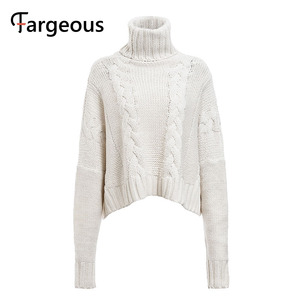 Image 5 - Long Sleeve Turtleneck Crop Sweater 2019 Autumn Winter Thick Solid Harajuku Oversized Pullover White Kintted Jumper Tops