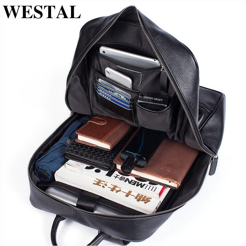 WESTAL 100% Genuine Leather Men's Backpack Men Male Business Bag Schoolbag Man Fashion Men's Backpacks For Male Leather 8110