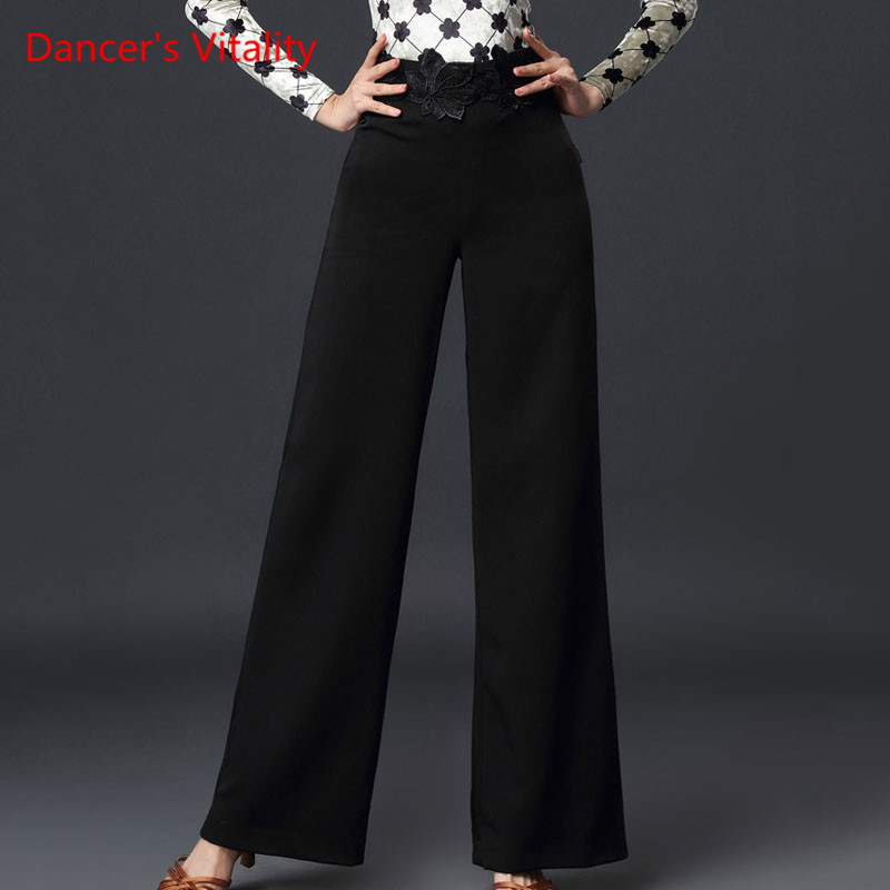 Latin Dance New Female Adult Wide Leg Trousers Rumba Samba Dancing Practice Clothes Ballroom Dance High Waist Pants